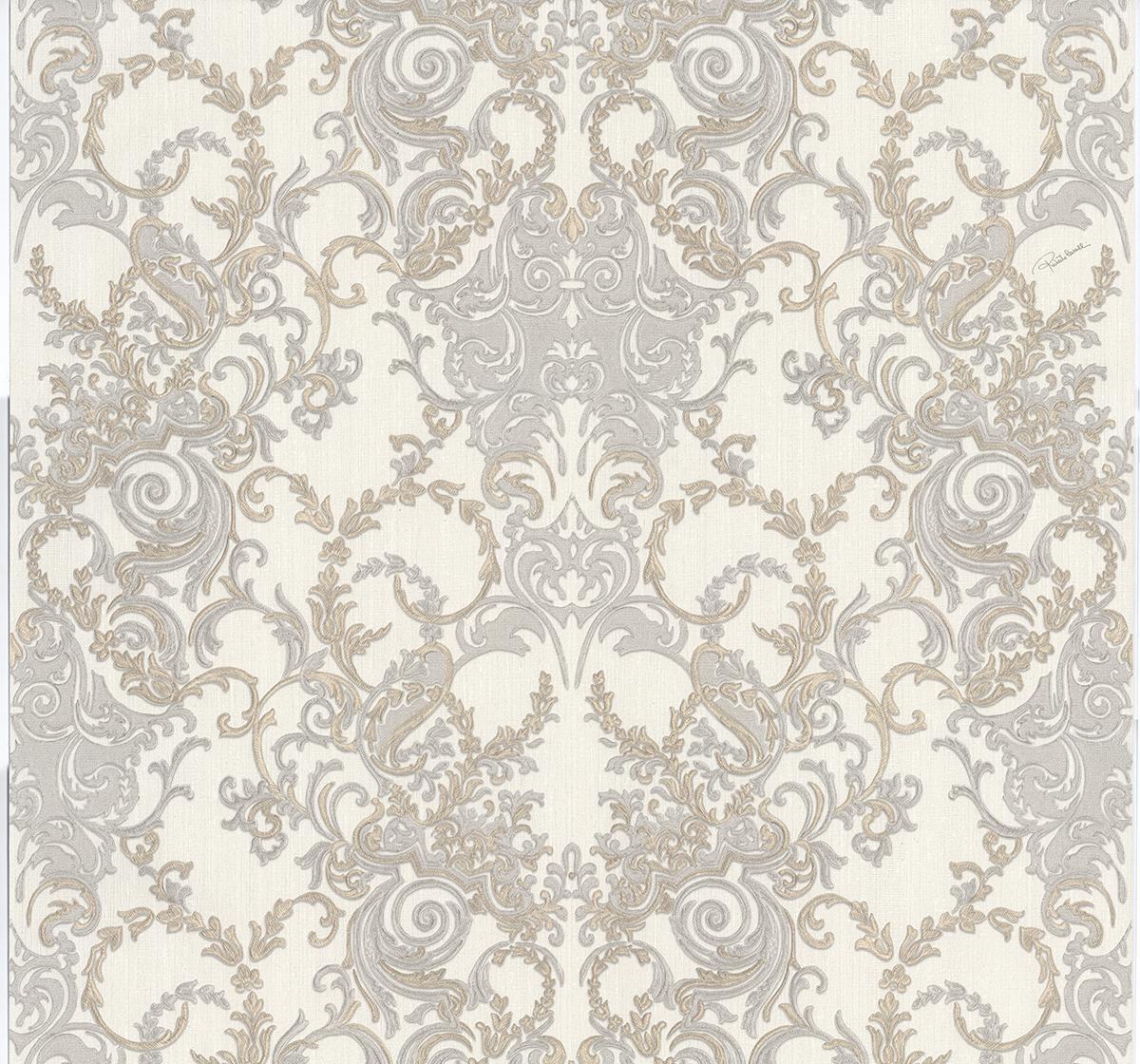 Roberto Cavalli Barocco RC15066 Wallpaper GreySilverGold 1200x1120