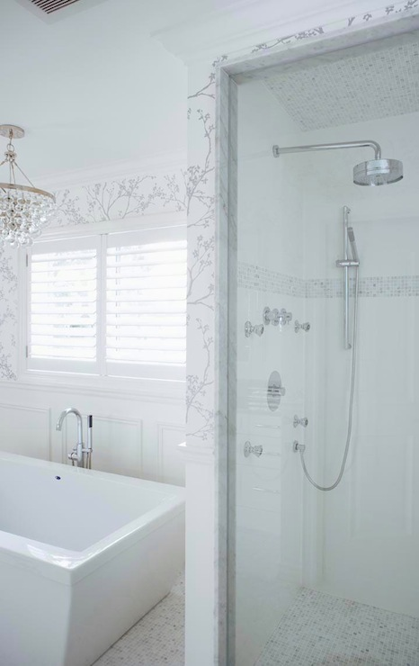 White and Silver Wallpaper   Transitional   bathroom   Jennifer Worts 466x740