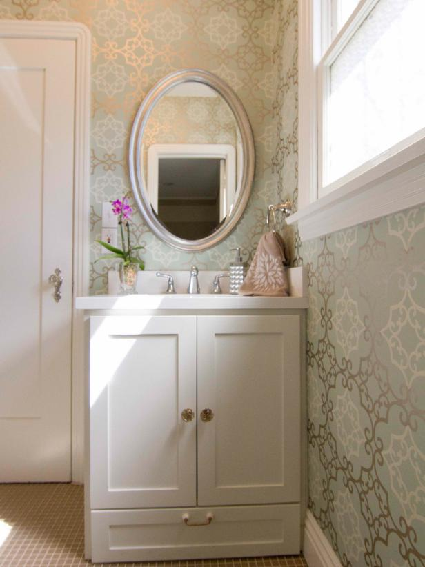Traditional Bathroom With Sophisticated Patterned Wallpaper HGTV 616x822