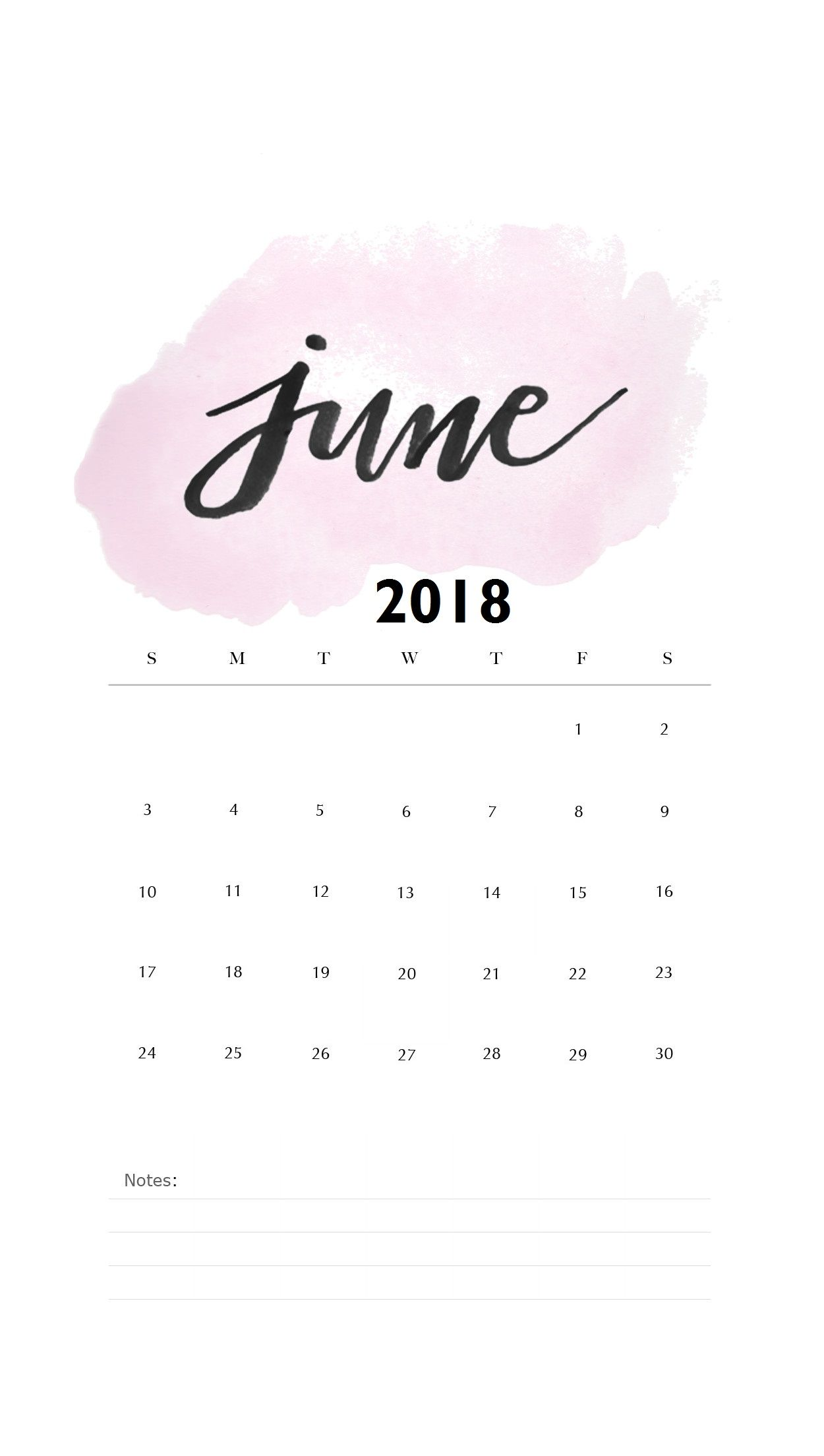 Watercolor June 2018 iPhone Calendar phone wallpapers Fondos 1250x2208