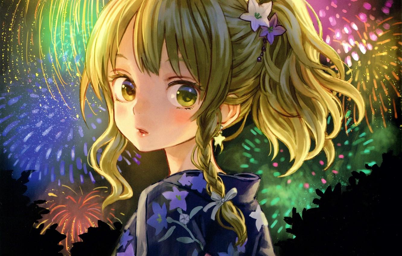 Wallpaper girl fireworks yukata curiosity art amatou images 1332x850
