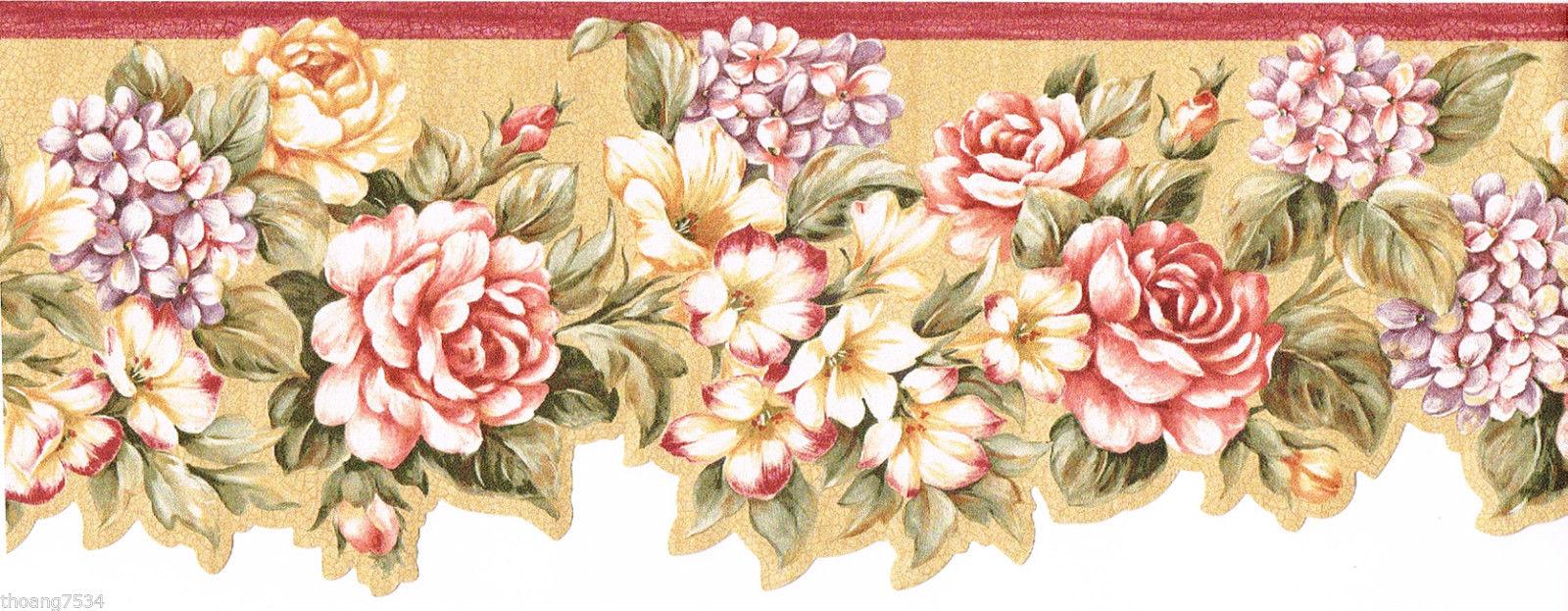 Red Burgundy Lavender Flower Floral Rose Laser Cut Wall paper Border 1600x623