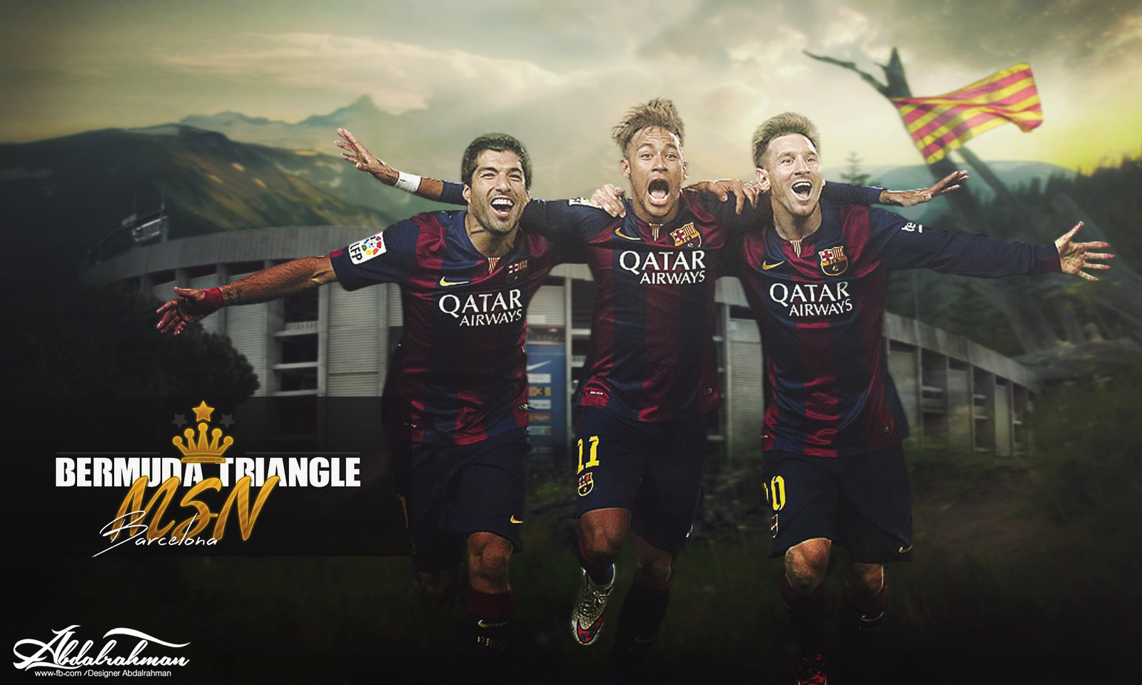 wallpaper messi suarez neymar msn 2015 by Designer Abdalrahman on 1600x960