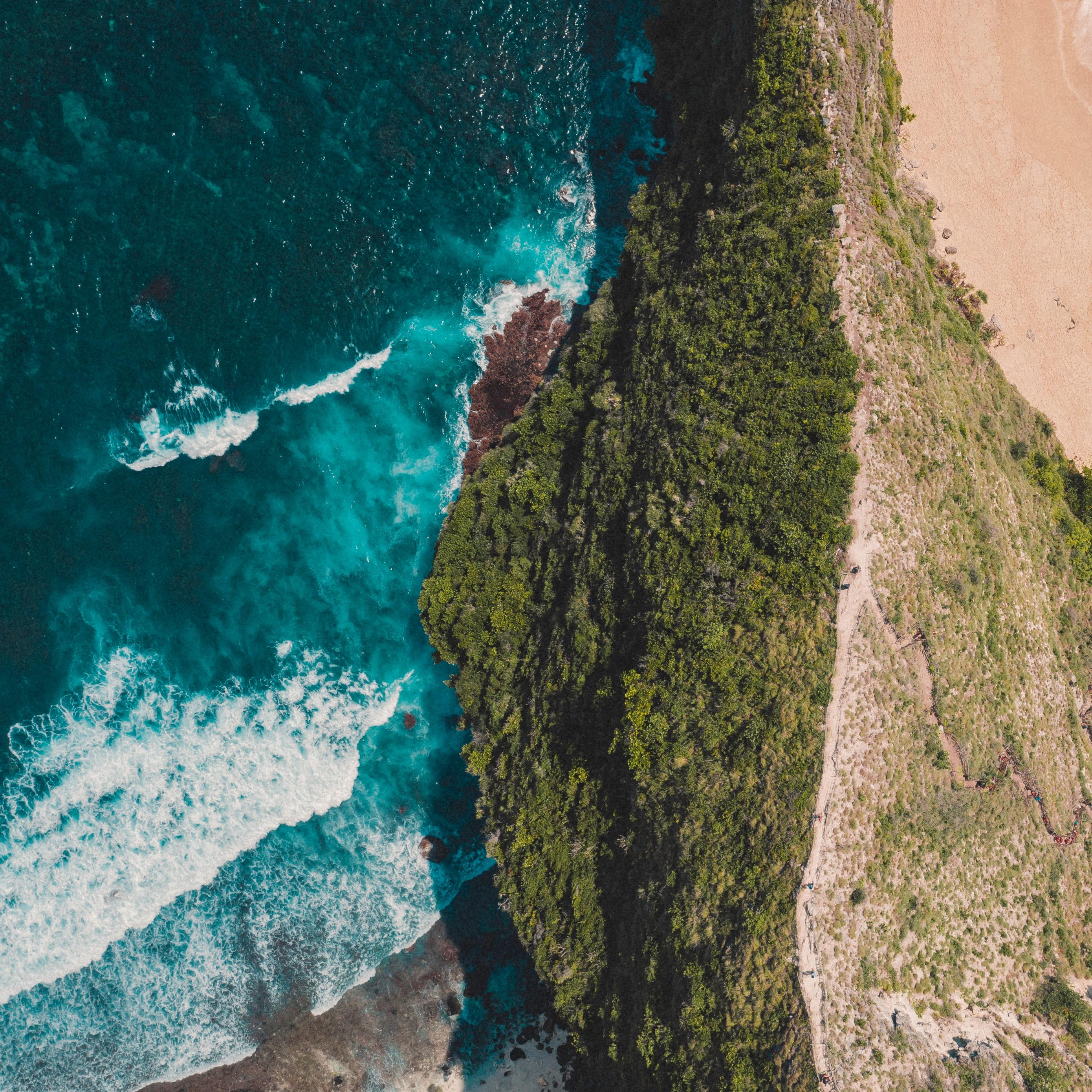 Download wallpaper 2780x2780 ocean island aerial view surf 2780x2780