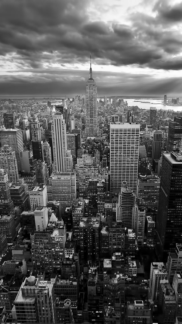 New York Empire State Building Black White iPhone 5 Wallpaper iPhone 640x1136