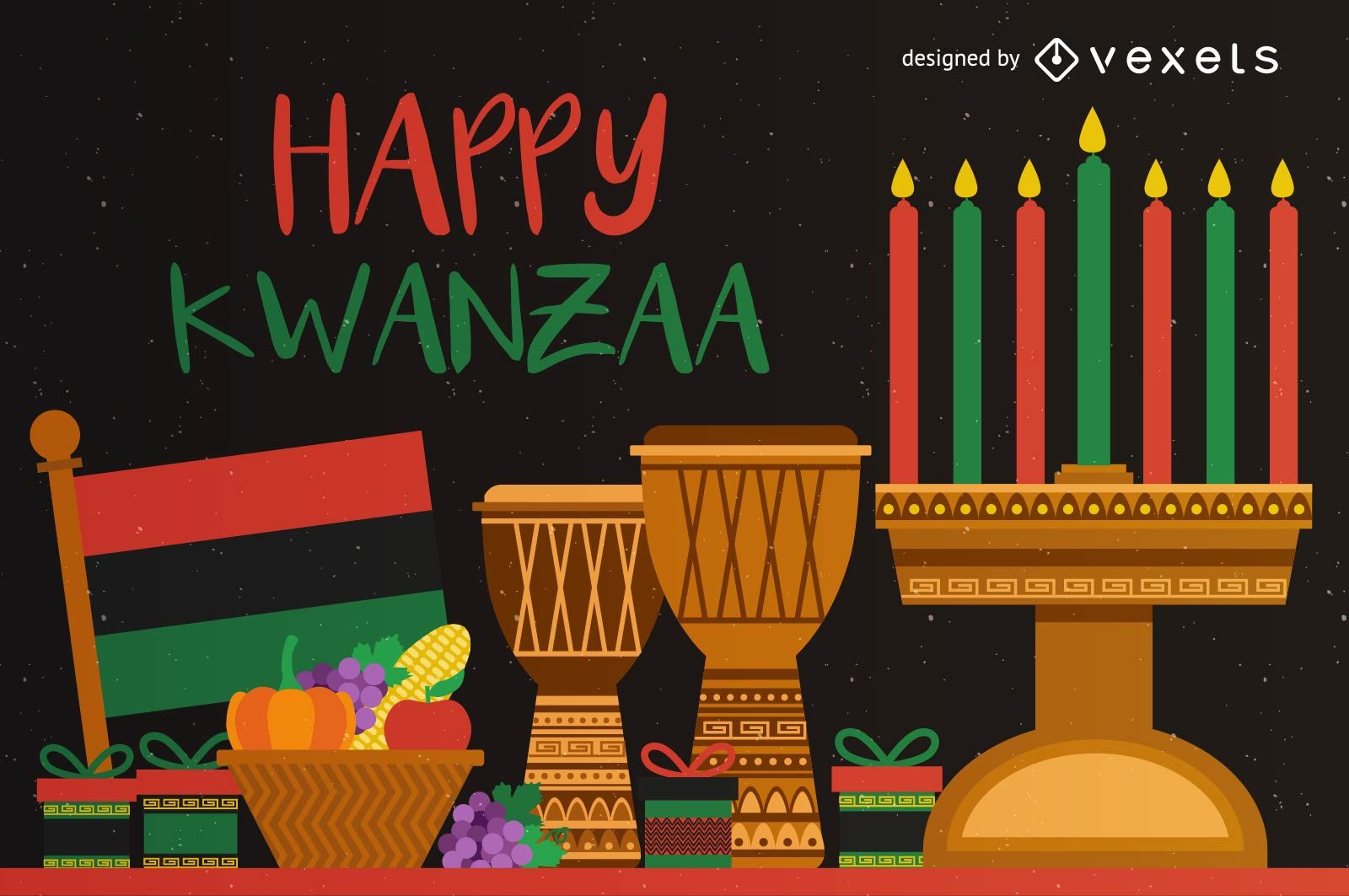 Colorful Happy Kwanzaa greeting card   Vector download 1600x1063