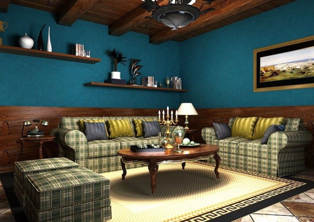 Sofa wall with blue wallpaper Southeast Asian style 1030x729