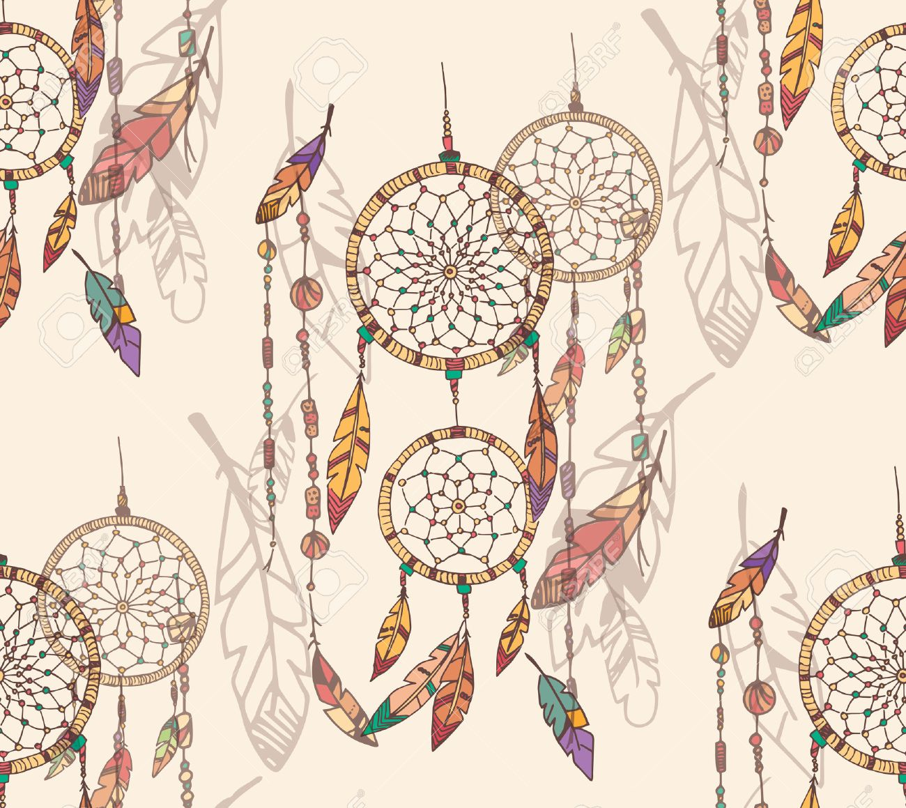 Bohemian Dream Catcher With Beads And Feathers Seamless Pattern 1300x1159