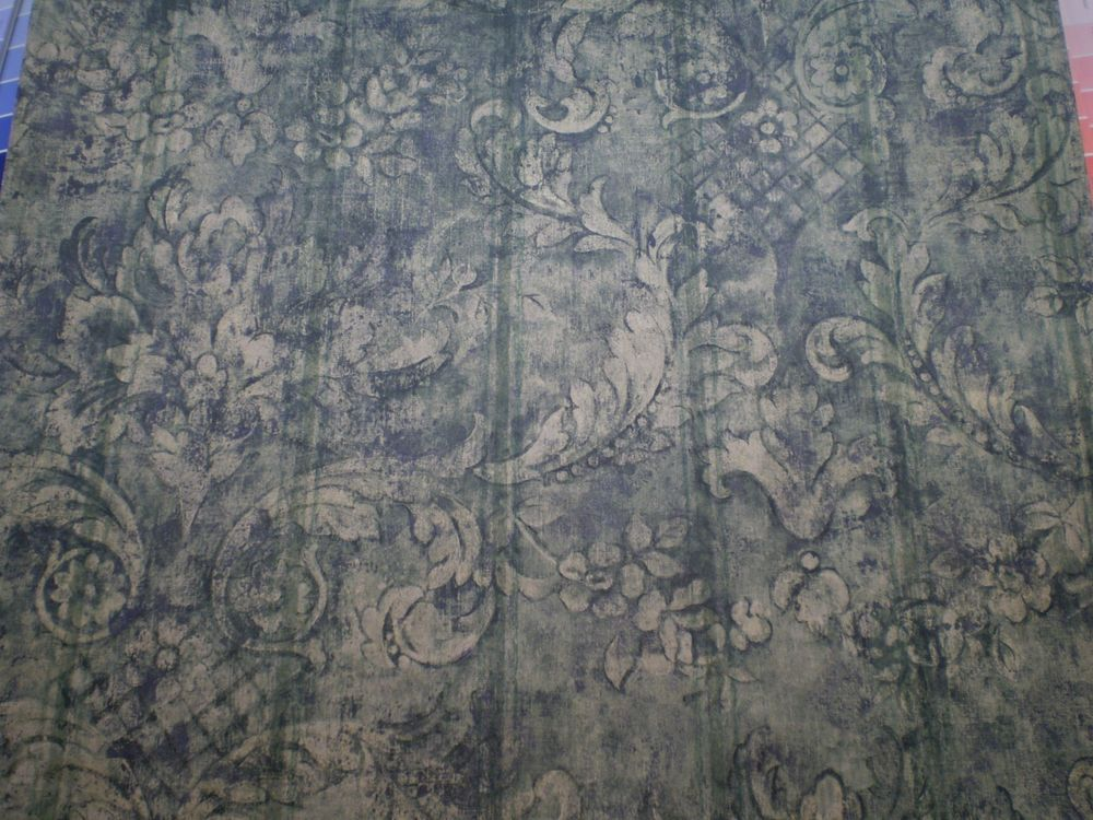 Bulk Listing Navy Blue Green Gold Distressed Damask by Blonder SF37097 1000x750