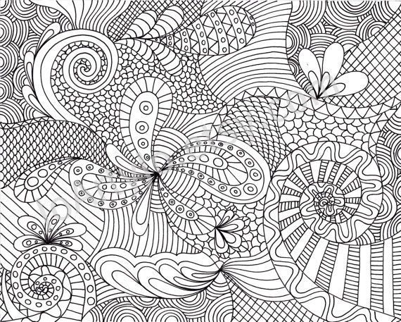 printable adult coloring pages Coloring Page Printable Zentangle 570x457