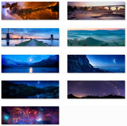 Desktop Fun Dual monitor Nightfall and Starlight panoramic theme for 539x532