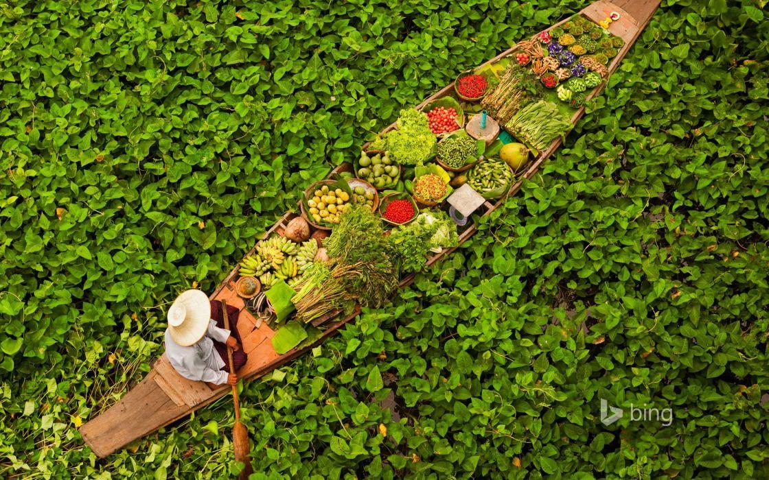Bangkok floating market Thailand boat ship wallpaper 1920x1200 1120x700