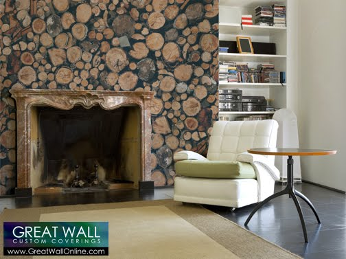 Custom Wallpaper Inspiration Custom Wallpaper Featuring Wood Textures 504x377