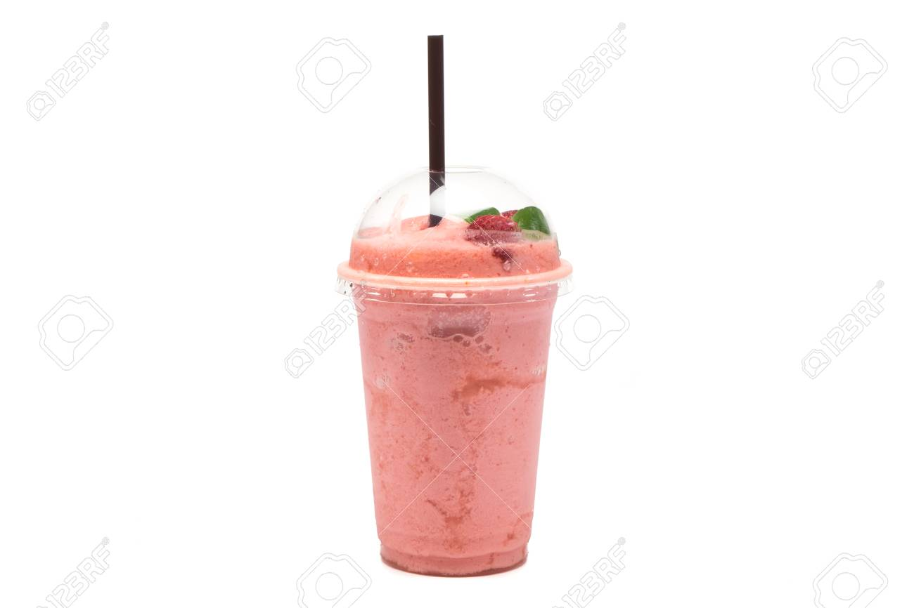 Strawberry Smoothie In Plastic Transparent Cup On White Background 1300x866