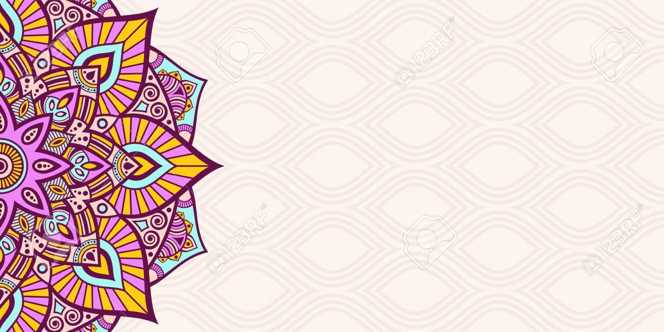 Horizontal Mandala Banner Decorative Flower Mandala Background 1300x650