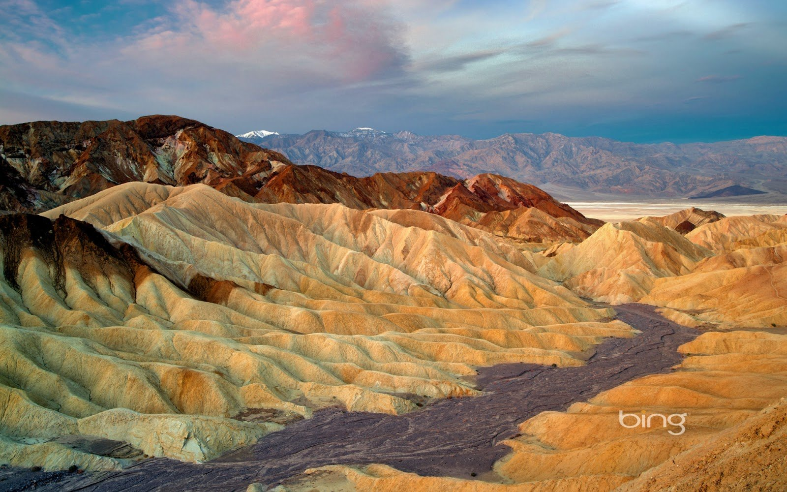 View of eroded cliffs from Zabriskie Point Death Valley National Park 1600x1000
