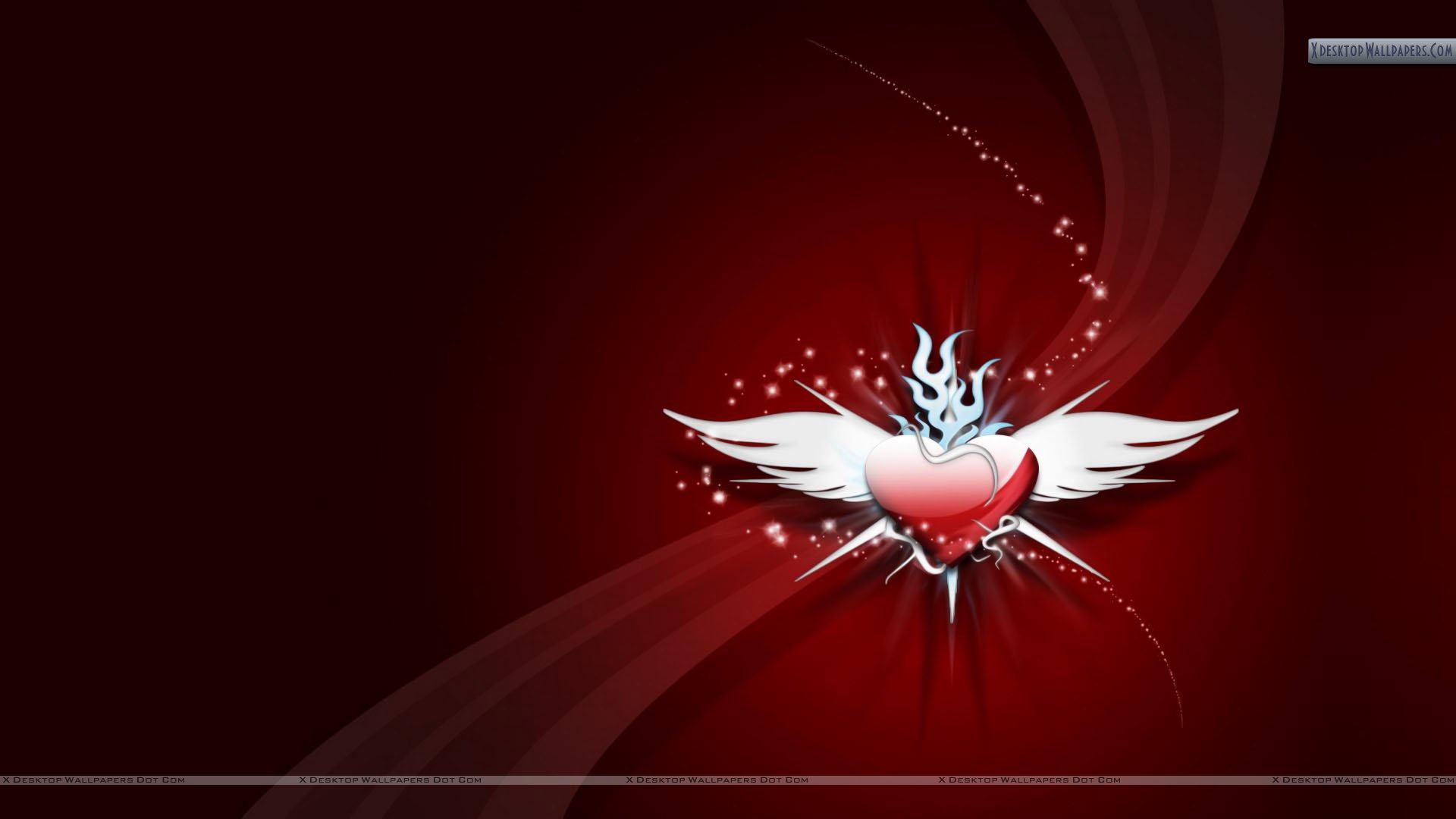 Red Heart With White Wings Cool Red Wallpaper Wallpaper 1920x1080