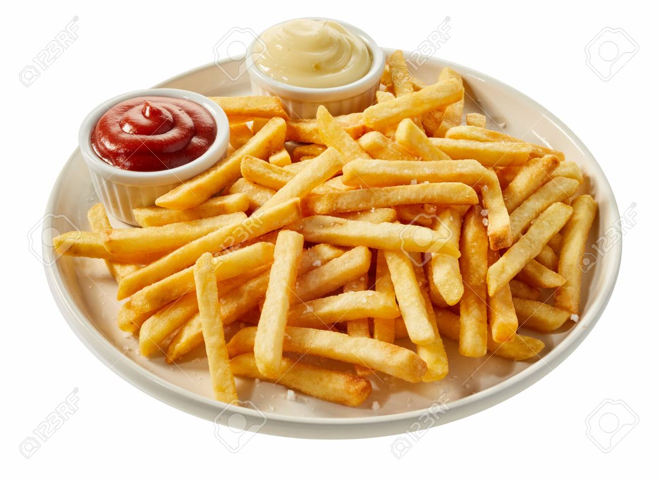 White Ceramic Plate Of Freshly Prepared French Fries Served With 1300x950