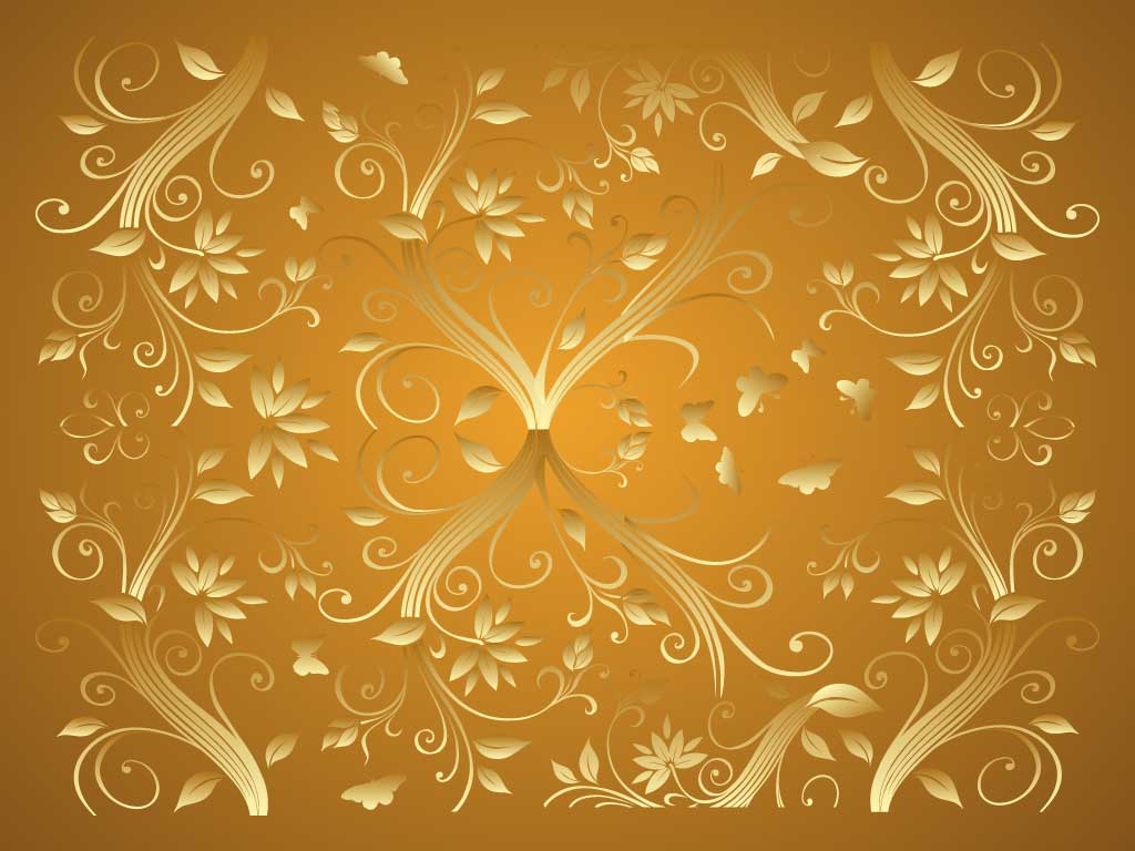 Elegant Gold Background Gold flowers 1024x768