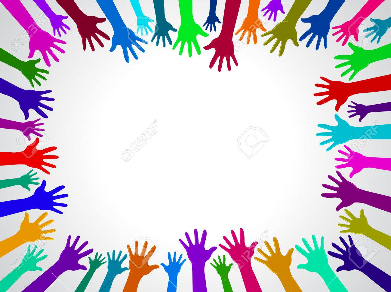 Colors Hands Up Background Concept Of Cooperation And Reach 1300x972