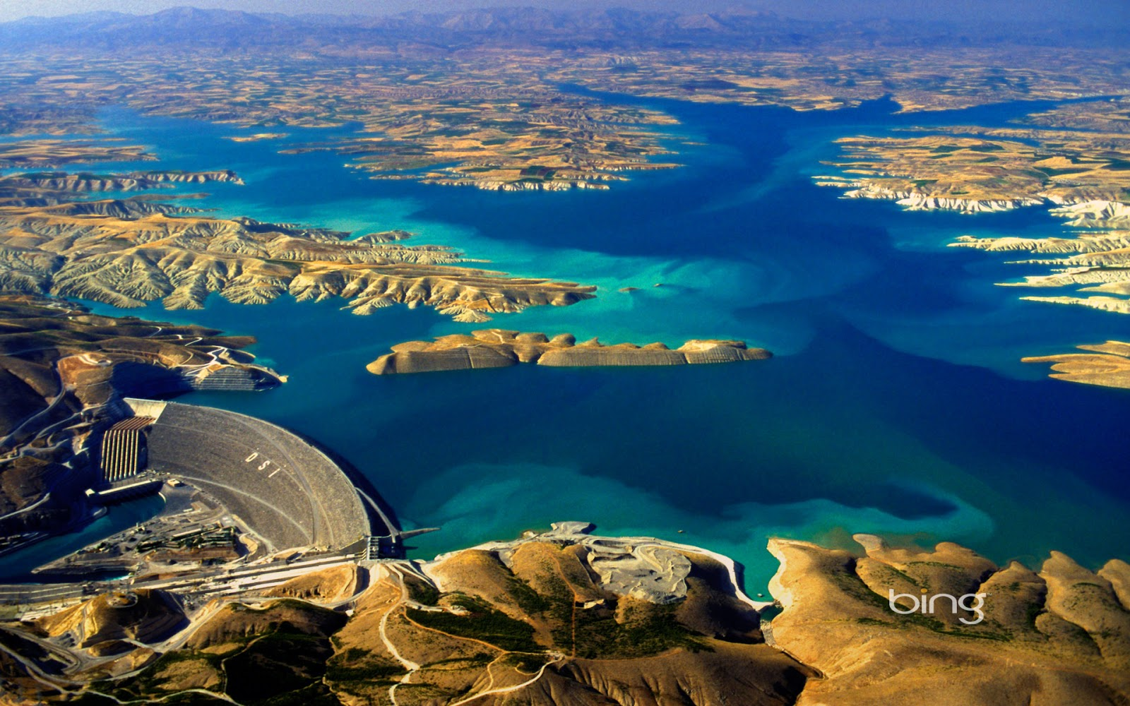 Aerial view of the Ataturk Dam on the Euphrates River Turkey Ed 1600x1000