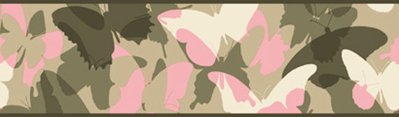 Candice Olson Pink and Green Camo Border SALE   Wall Sticker Outlet 570x167