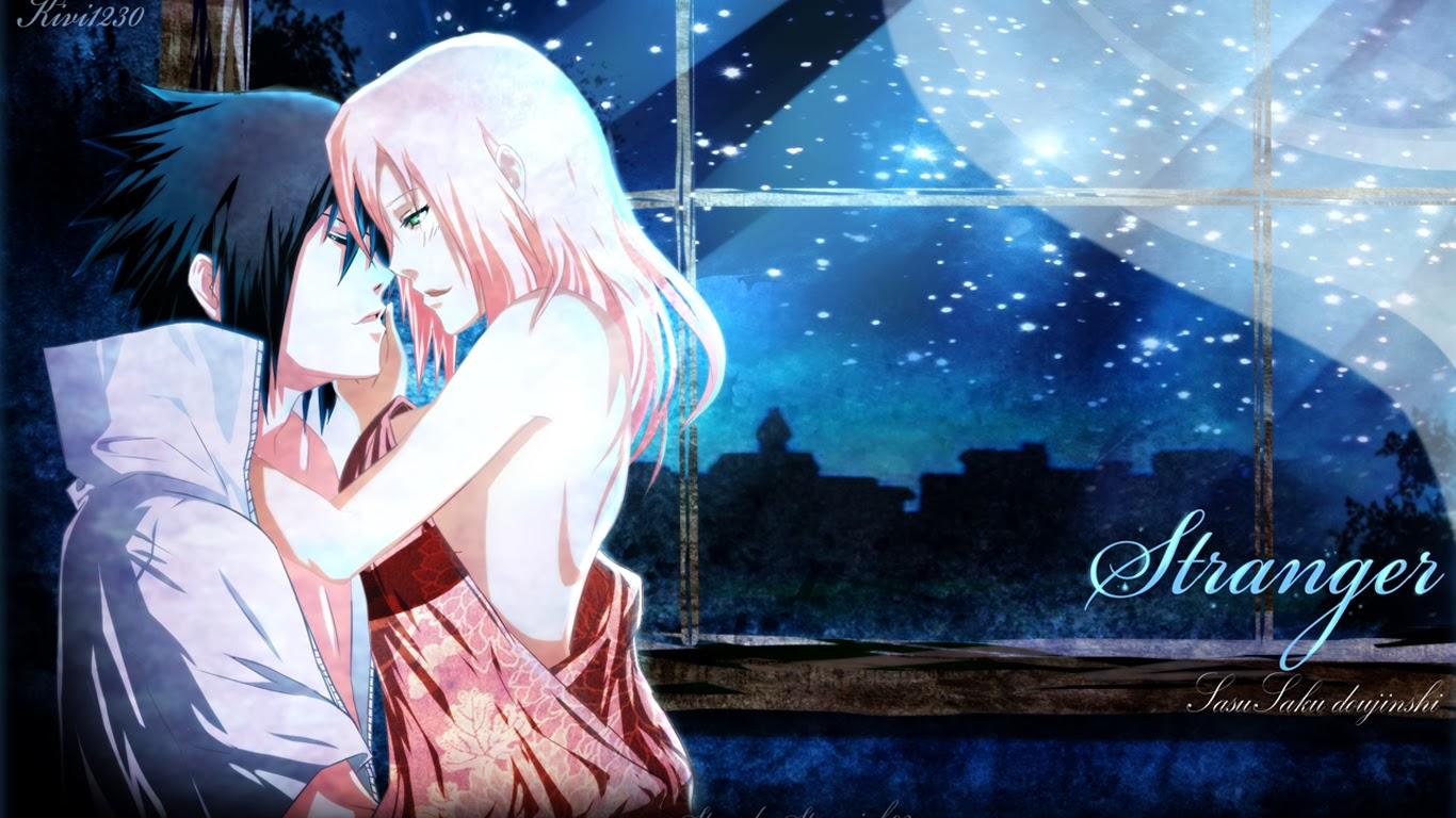 sweet couple sasuke uchiha sakura hd anime wallpaper 1366x768 1366x768