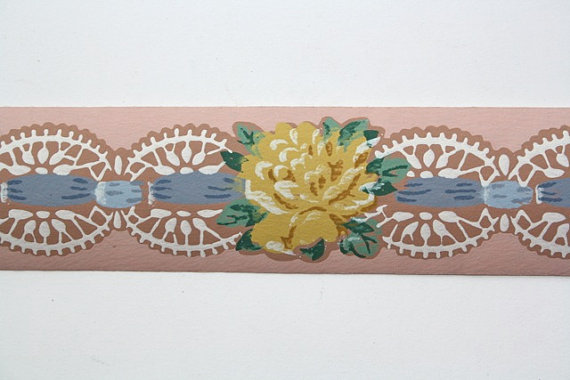 Vintage Wallpaper Border   TRIMZ   Yellow Rose on Pink with Ribbon and 570x380