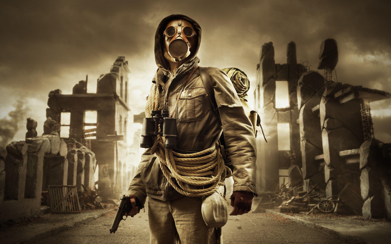 Post Apocalyptic People Stalker ruins gas mask rope sky dark 2880x1800