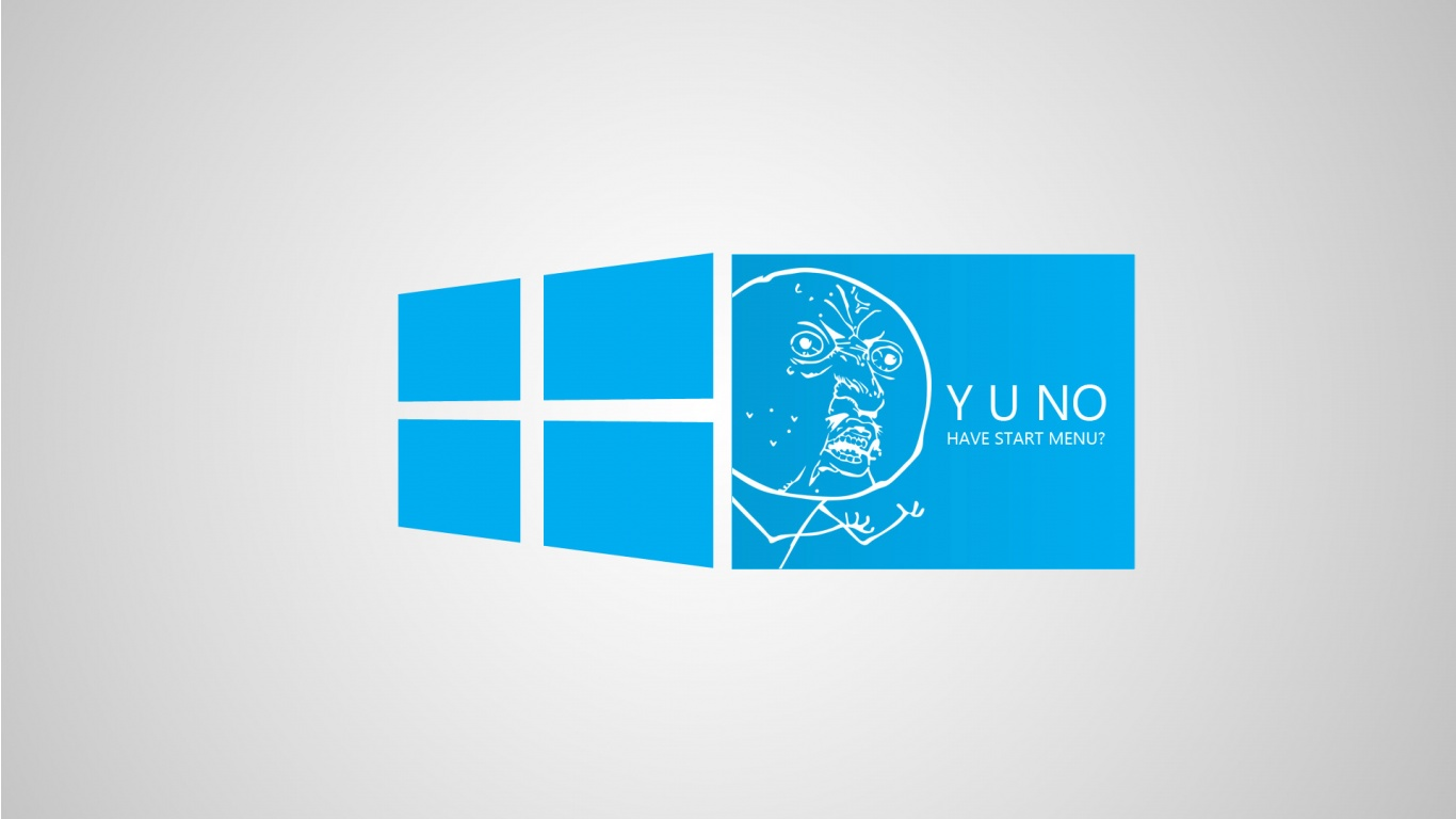 Download Funny Blue Windows 8 Meme Wallpaper in 1366x768 Resolution 1366x768