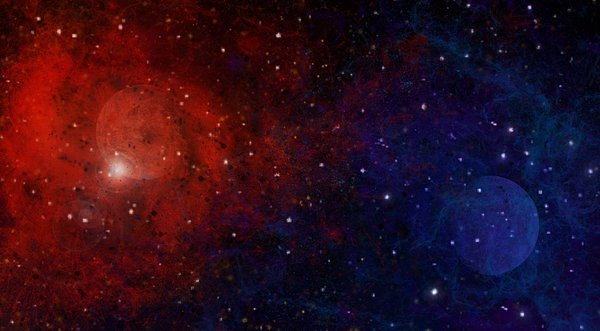 red blue space background wallpaper by GoldCat742 600x331