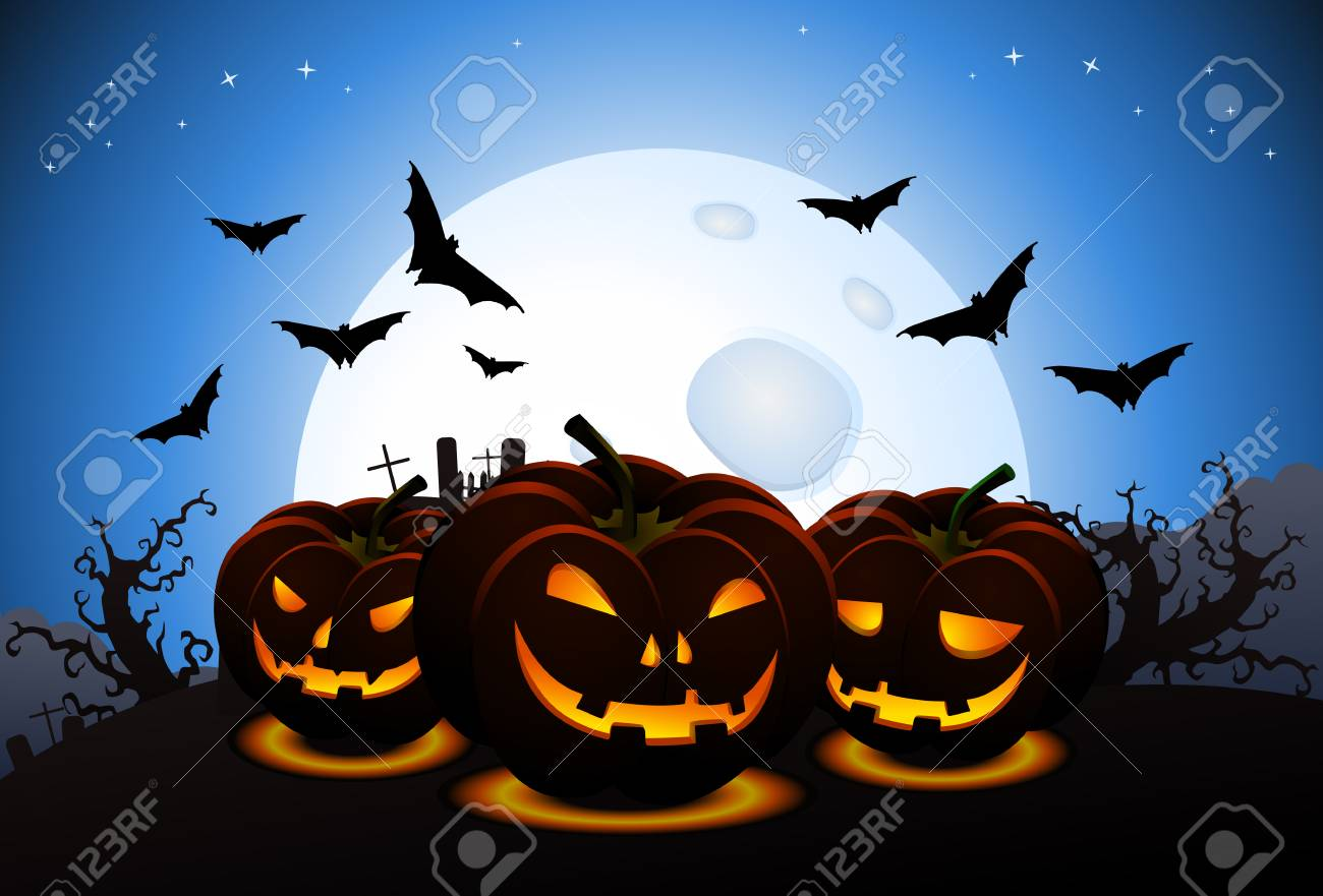 Illustration Of Scary Halloween Wallpaper With Carved Pumpkins 1300x881
