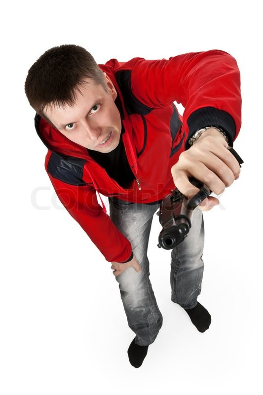 Young Thug In A Red Sweater With A Gun On A White Background Male 533x800
