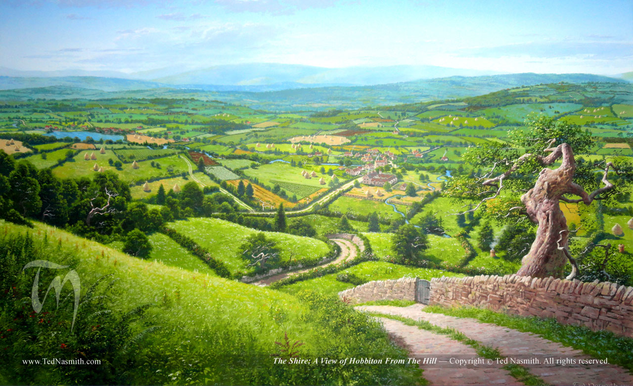 Hobbits In The Shire the hobbit ted nasmith 1280x782