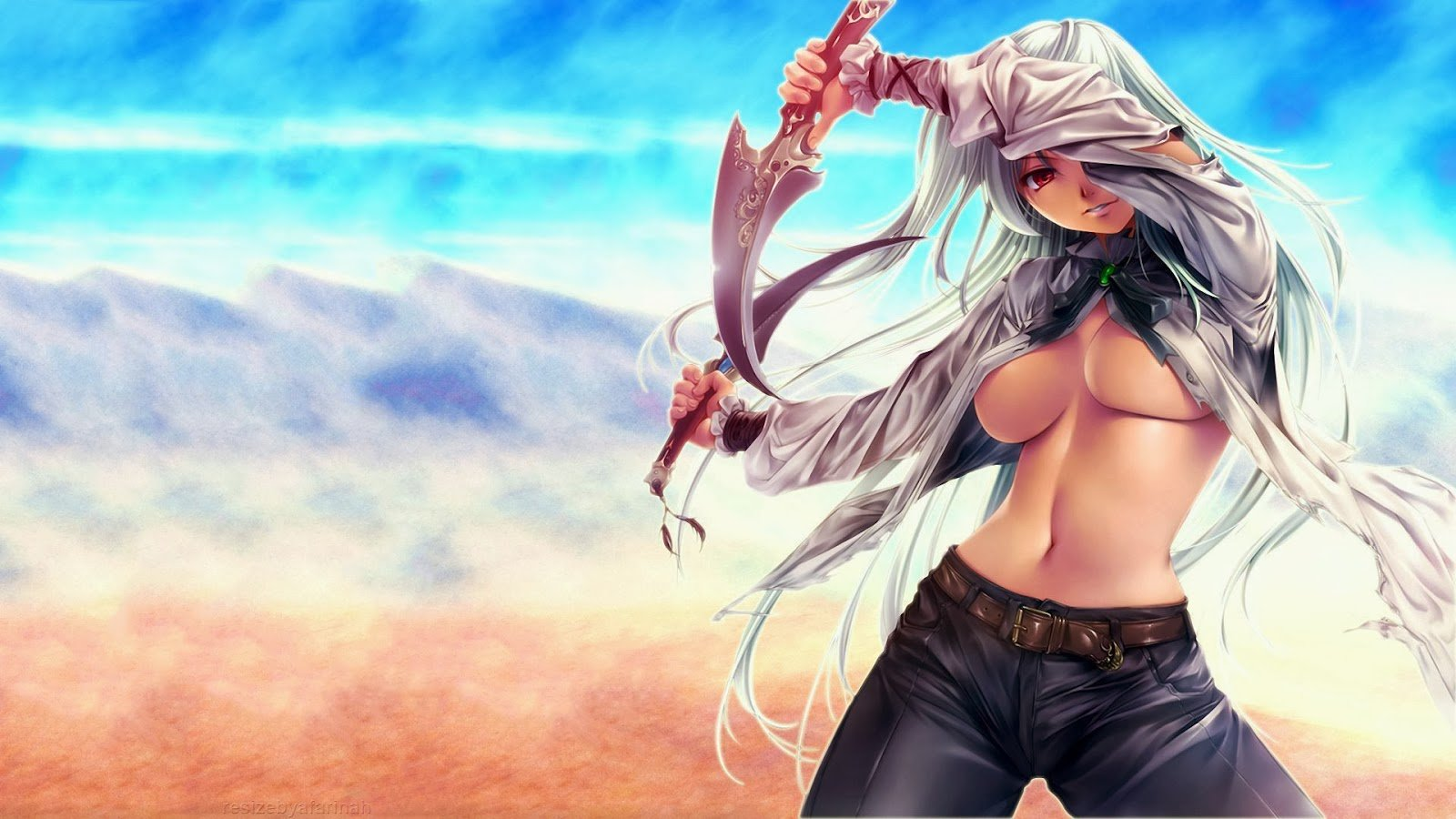 anime girl chest daggers 1600x900