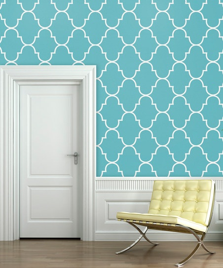is closer to Elan Blue Tiffany Blue Classic Trellis Wallpaper Decal 452x543