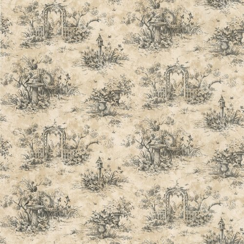 Waverly 5505823 Country Toile Wallpaper Black 500x500