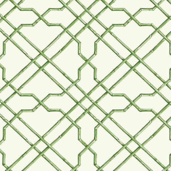 Bamboo Trellis Wallpaper in Green design by York Wallcoverings BURKE 600x600