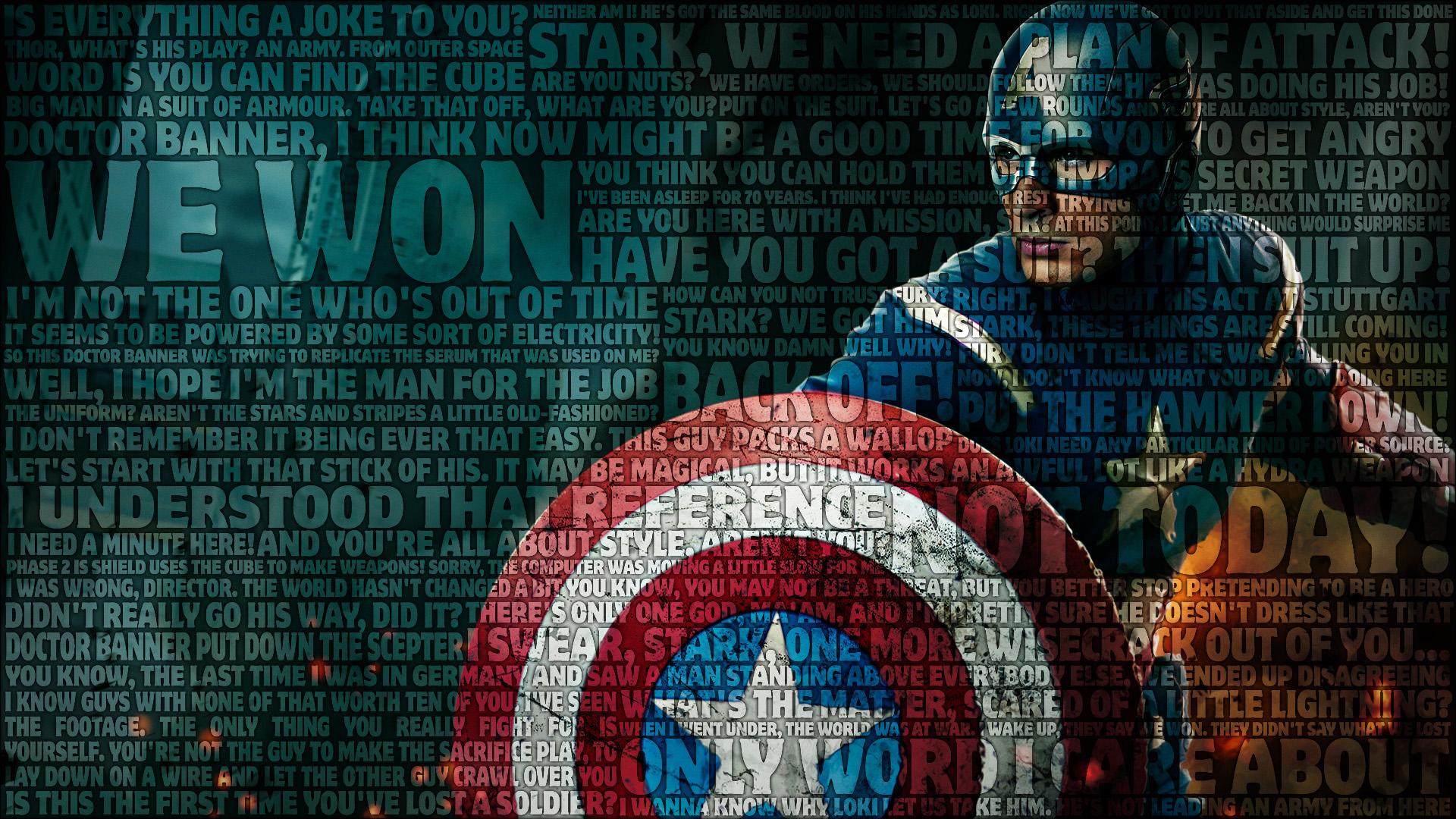 Captain America Avengers Typography wallpaper background 1920x1080