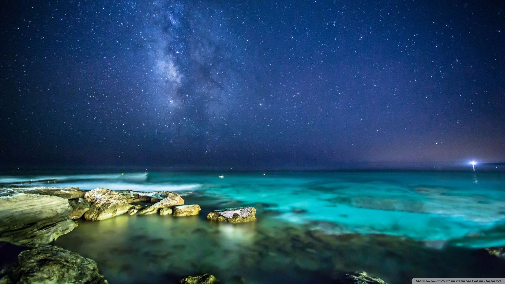 Night Ocean Wallpaper Hd Wallpaper ocean night sky 1920x1080