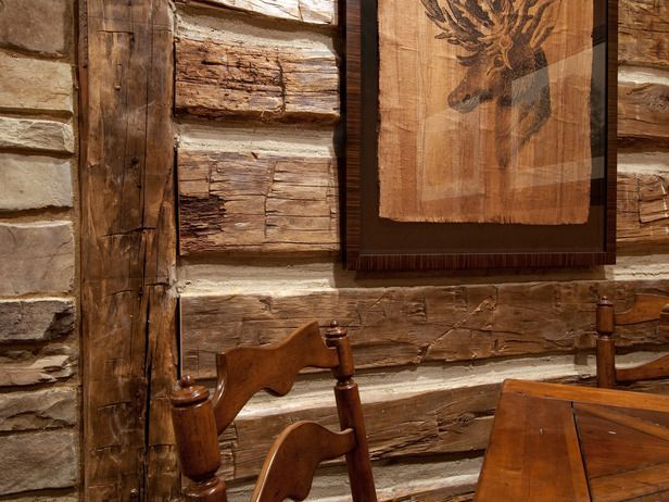 Faux Log Cabin Interior Walls faux log cabin wall with wood and 616x462
