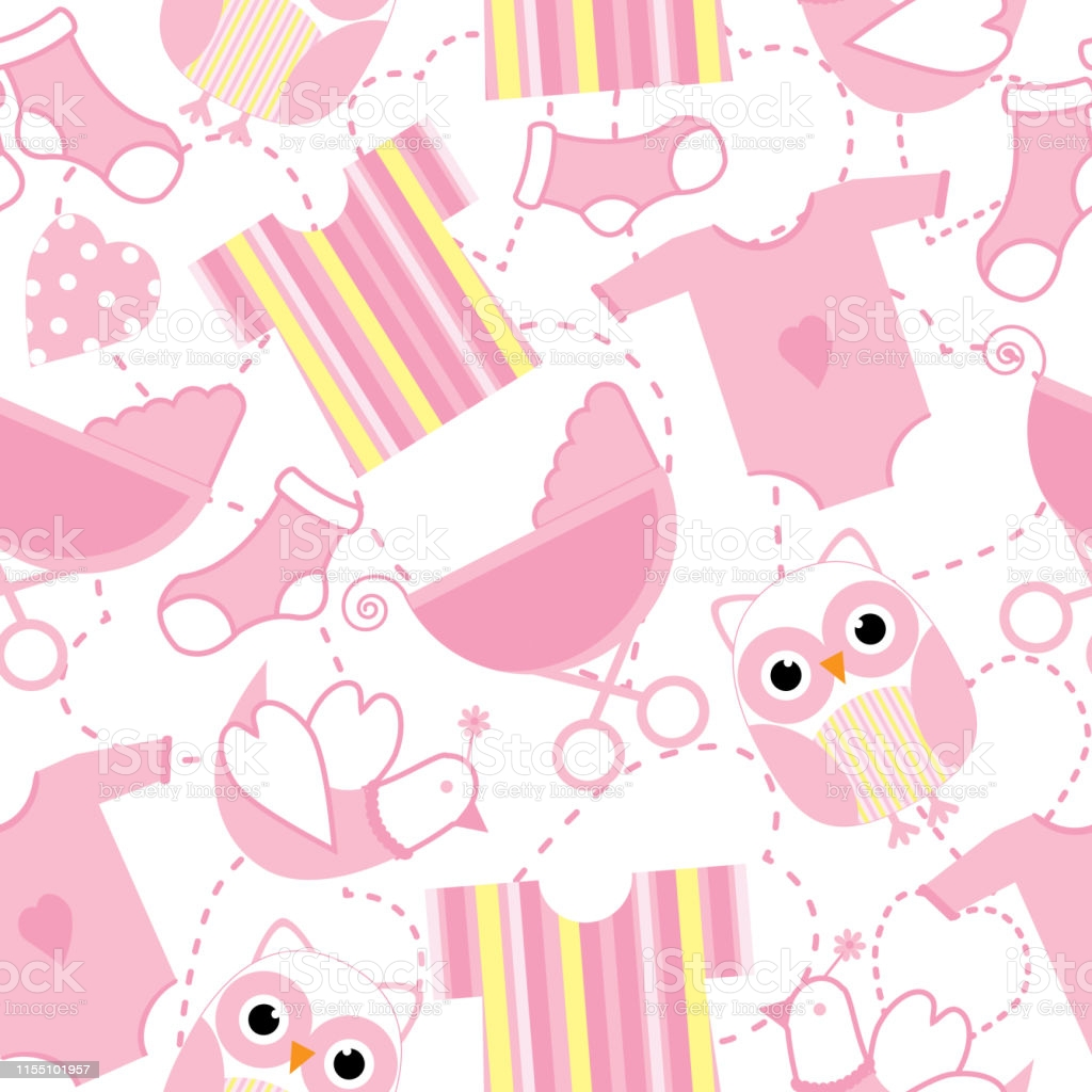 Seamless Background Of Baby Shower Illustration With Cute Pink 1024x1024