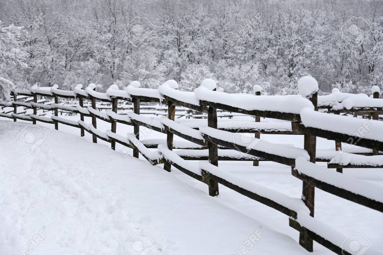 Photo Of Snowy Corral Fence Wintertime As A Background Stock Photo 1300x866