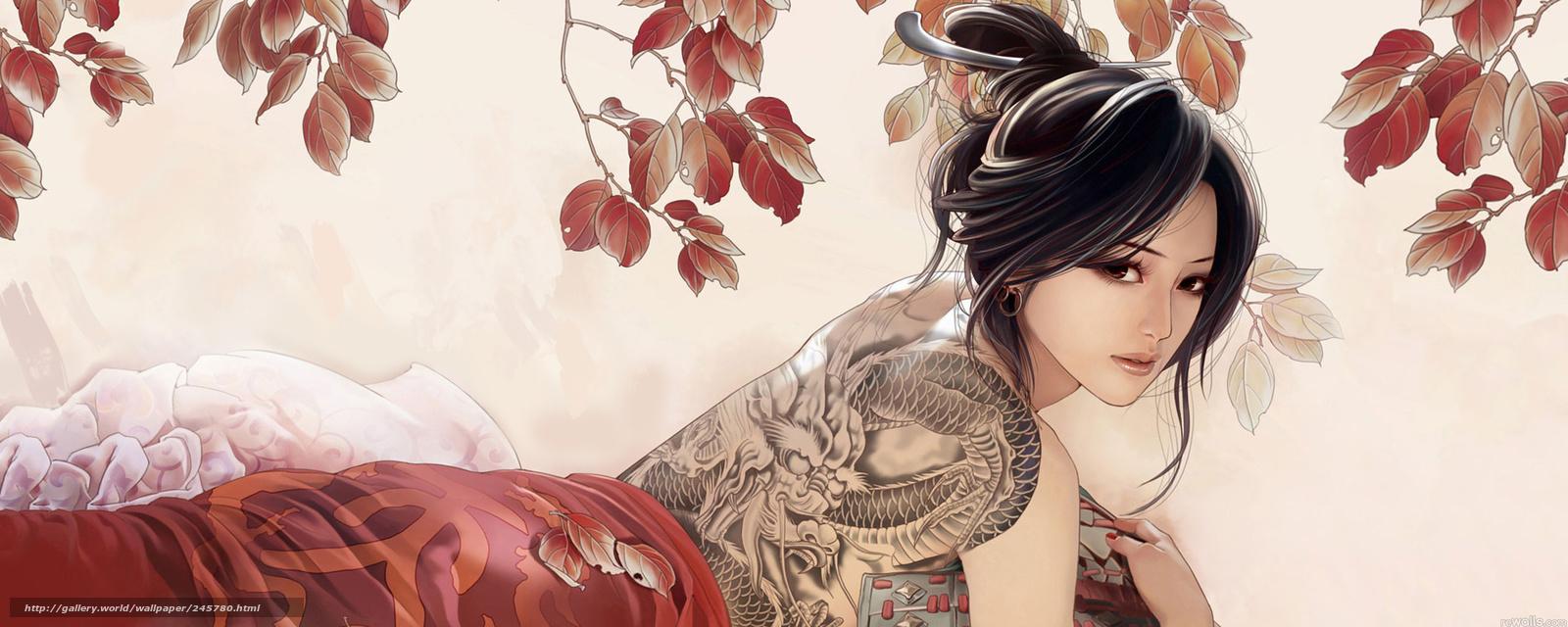 Download wallpaper Asian tattoo dragon desktop wallpaper in the 1600x640