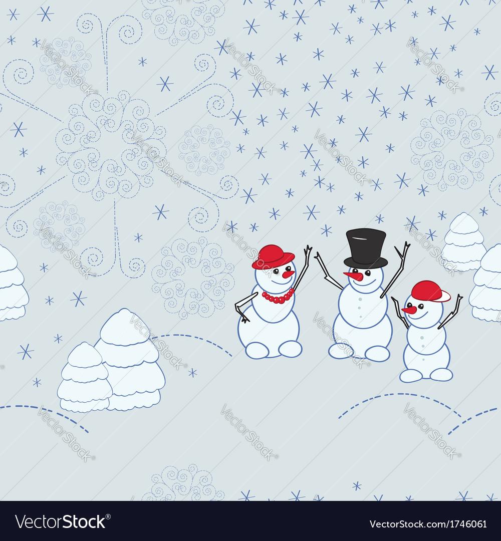 Snowmen background Royalty Vector Image   VectorStock 1000x1080