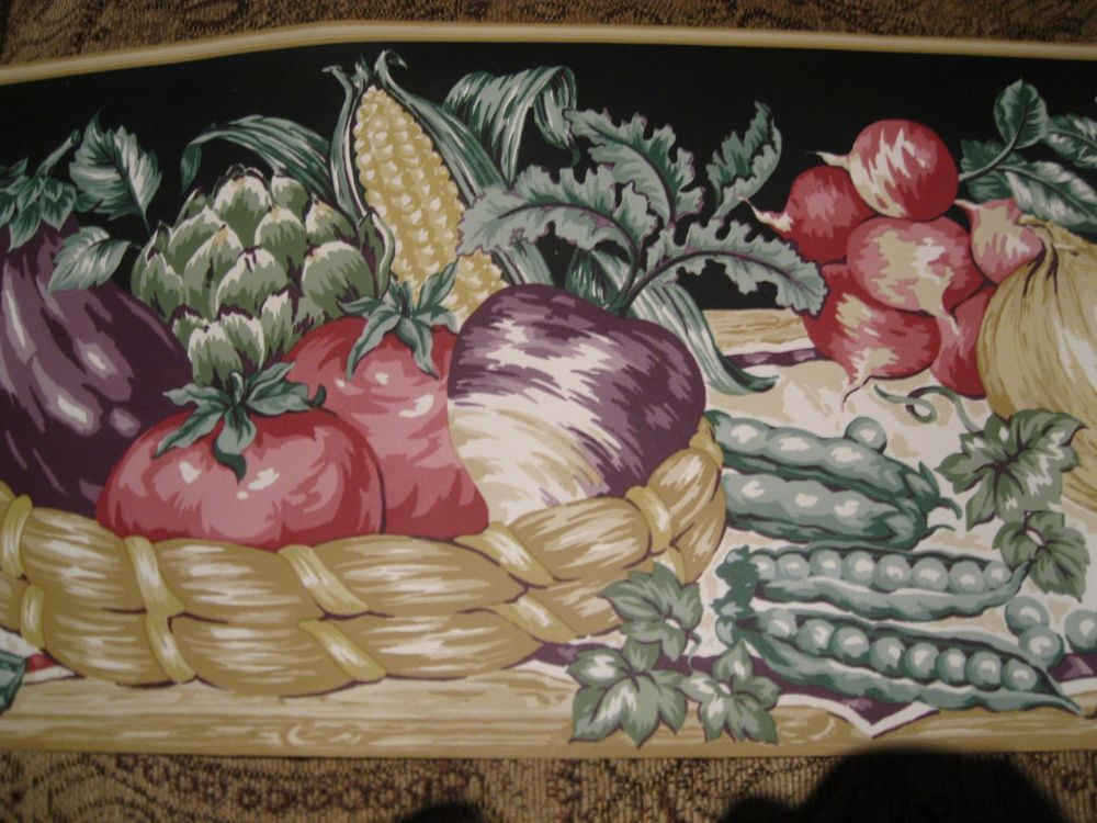 Veggies Vegetables Baskets Tan Trim Black Wallpaper Border Kitchen 1000x750