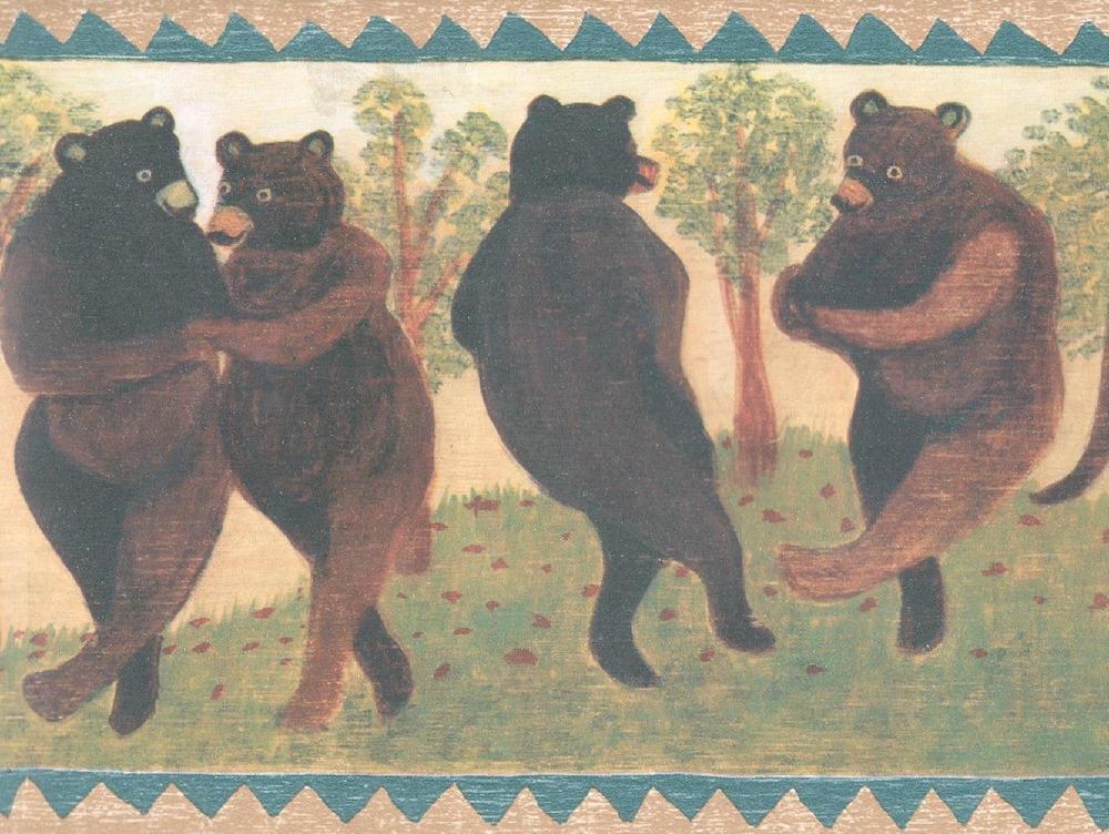Bears Rustic Log Cabin Decor Lodge Folk Adirondack Wall Wallpaper 1000x752