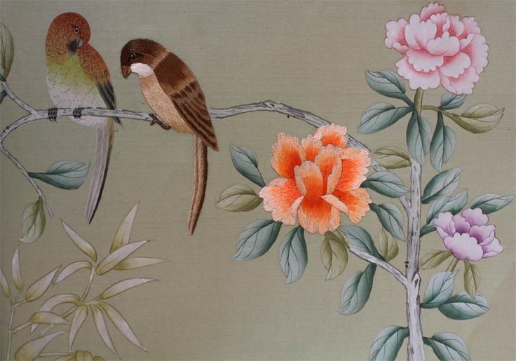 hand painted silk wallpaper Design   Wallpaper Pinterest 736x515