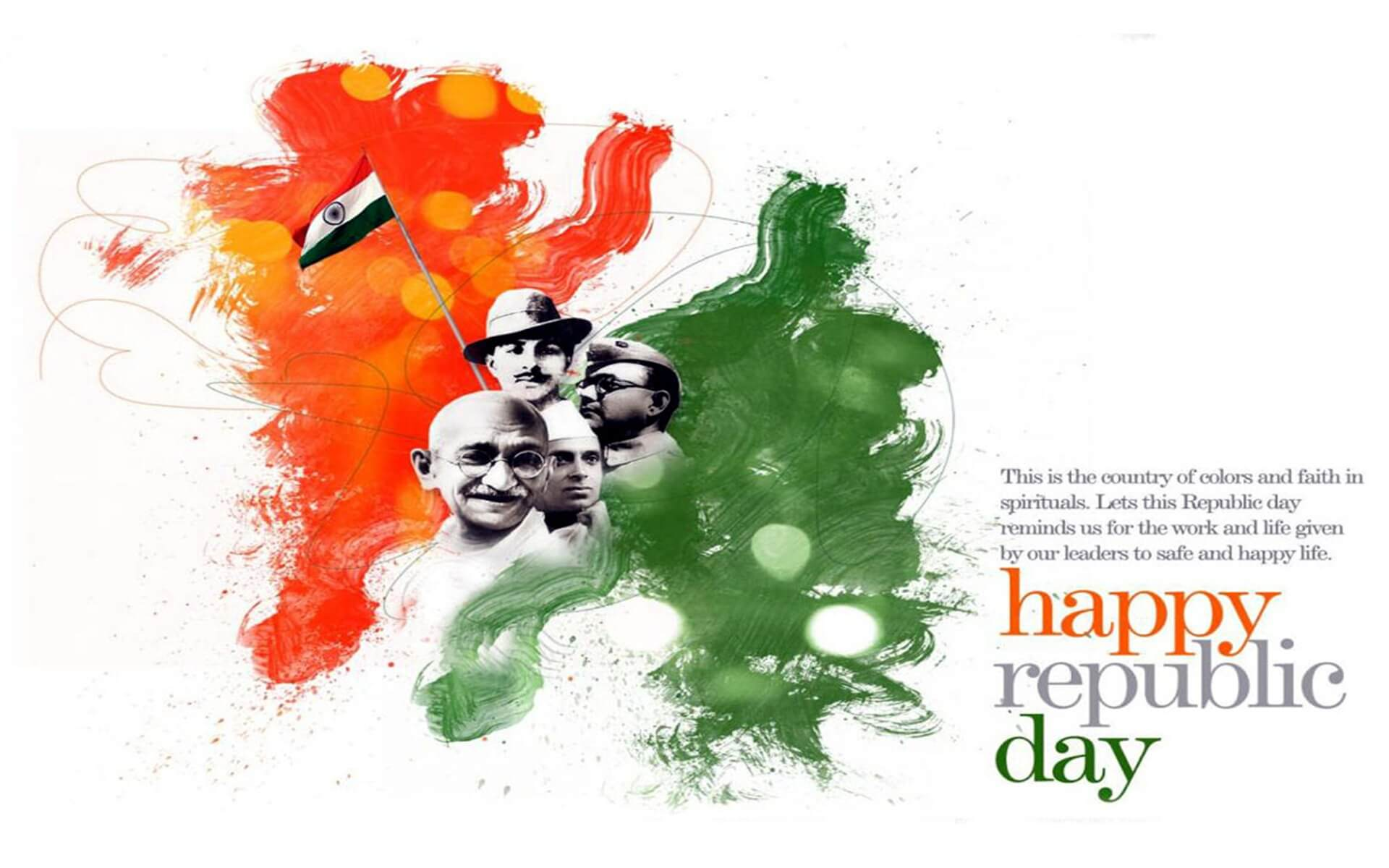 Happy Republic Day Wishes India January 26 Freedom Fighters Hd Pc 1920x1200