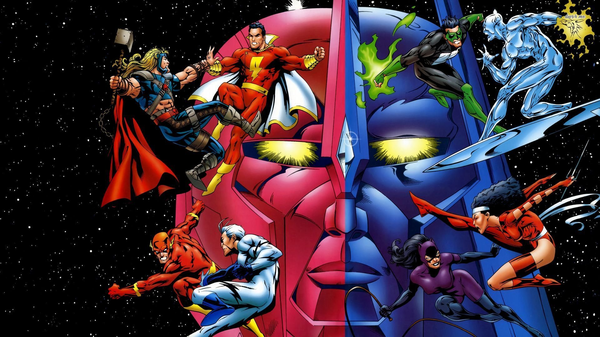DC Comics vs Marvel superheroes wallpaper 1280x800 DC Comics vs Marvel 1920x1080